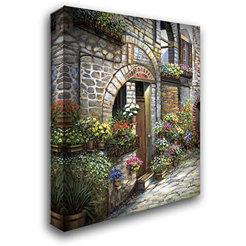 (Flower Pots at Spello 20x24 Gallery Wrapped Stretched Canvas Art by Sambataro)