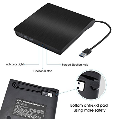 OTOOLWORLD External CD Drive USB 3.0 Slim Portable External DVD CD/DVD-RW Rewriter Burner Drive for Laptop Notebook PC Desktop Computer Support Windows/ Vista/7/8.1/10, Mac OSX (Black) by OTOOLWORLD (Image #1)