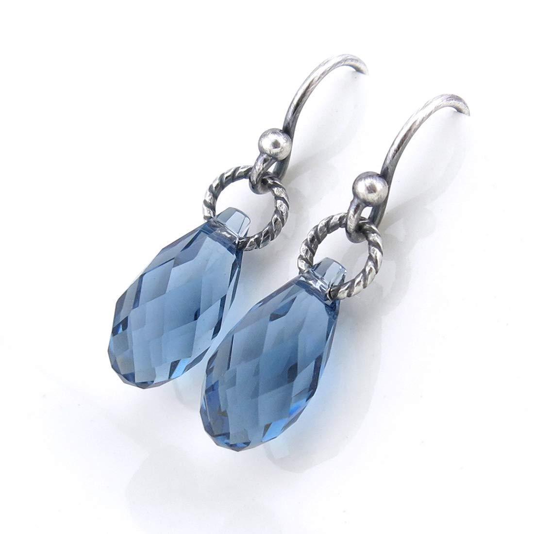 Teardrop Earrings ~ Sky Blue Enamel Minimalist Teardrop Drop Earrings
