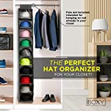 Boxy Concepts Hat Rack - 10 Shelf Hat Organizer for Baseball Caps and Hats with Dust Shield - Keep Your Hats in Shape, Dust Free and Keeps Your Home Tidy - Hat Racks for Baseball Caps Storage