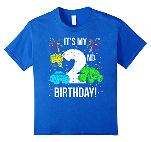 Kids 2 Year Old Monster Truck It's My 2nd Birthday TShirt 4 Royal Blue