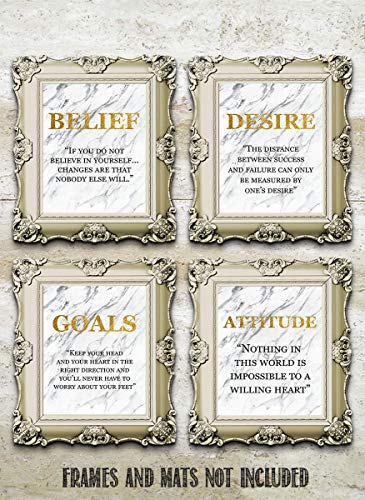Success Traits & Quotes Wall Art-4 Print Set-8 x 10