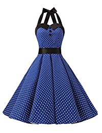 Dressystar Vintage Polka Dot Retro Cocktail Prom Dresses 50's 60's Rockabilly Bandage
