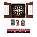 Game Room Guys Angular Chestnut Steel Tip Dart Board Cabinet Package