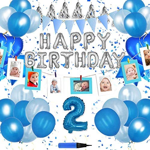85点 数字付き(選択可能)写真カード10枚付き!誕生日 飾り付け 3風船 Happy Birthday バルーン! (数字4)