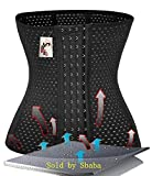 Waist Training Cincher Corset Girdle Body Shaper Trimmer Slimmer underwear sexy lingerie underbust bustier slimming for women belly control with steel boned sport workout gym (2XL Black)