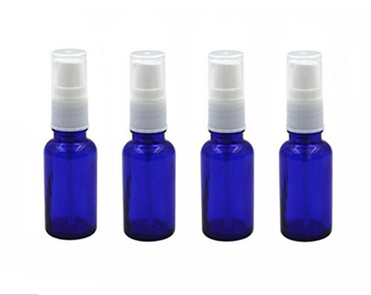6PCS 10ml Reusable Empty Glass Pump Bottle/Jars/Container/Vessel with White Plastic Cap - Cosmetic Make up Dispenser for Essential Oil Shampoo Sample Press Bottle