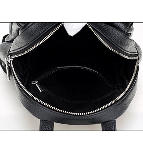Mujer Nuevo Estilo PU mochila Ocio Moda Color De Golpe Palabra V Gama Alta Bolso Black2