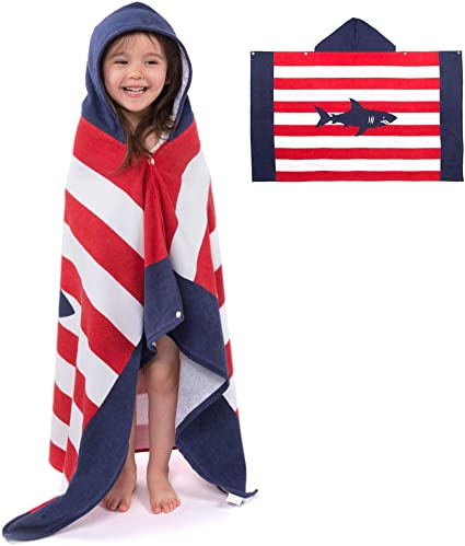 Boys Girls Hooded Beach Towel Kids Cotton Bathrobe Swim Bath Blanket Poncho