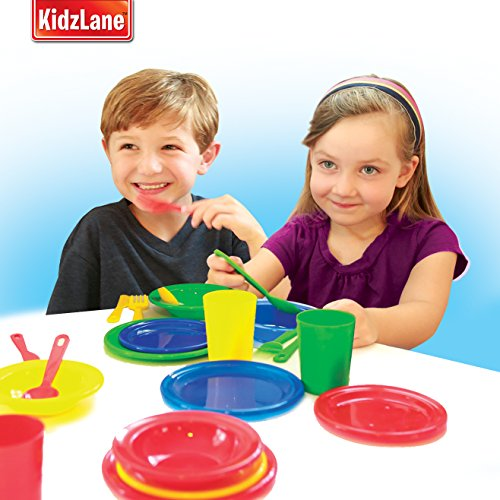 Kidzlane Durable Kids Play Dishes – Pretend Play Childrens Dish Set – 29 Piece with Drainer