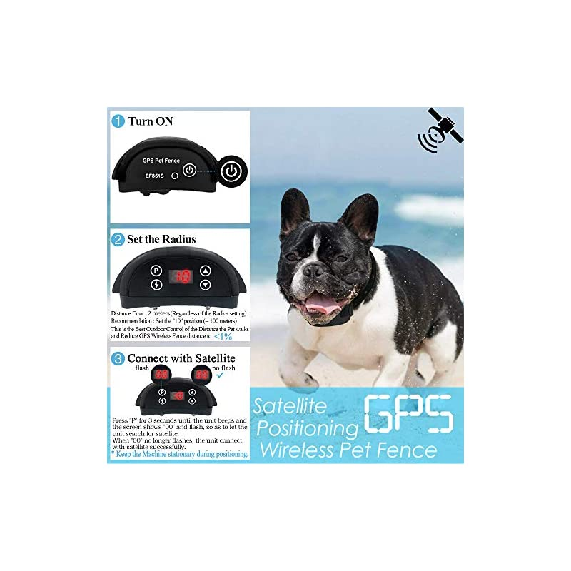 dog supplies online angelakerry wireless dog fence system with gps, outdoor dog containment system rechargeable waterproof collar 850yd remote for 15lbs-120lbs dogs (black, 1pc gps receiver by 1 dog)