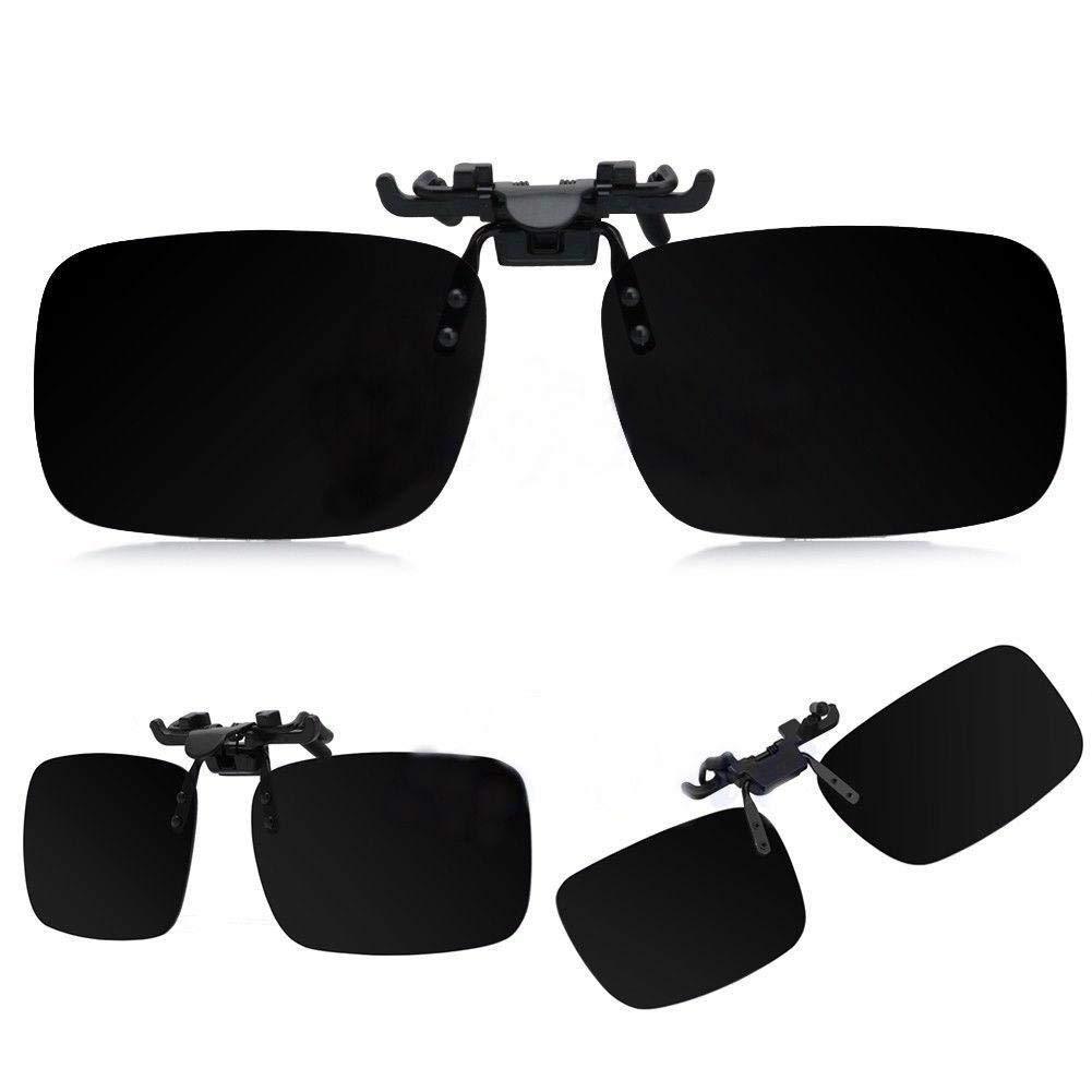 TERAISE 2PCS Metal frame classic style Polarized Clip-on Flip-up Sunglasses