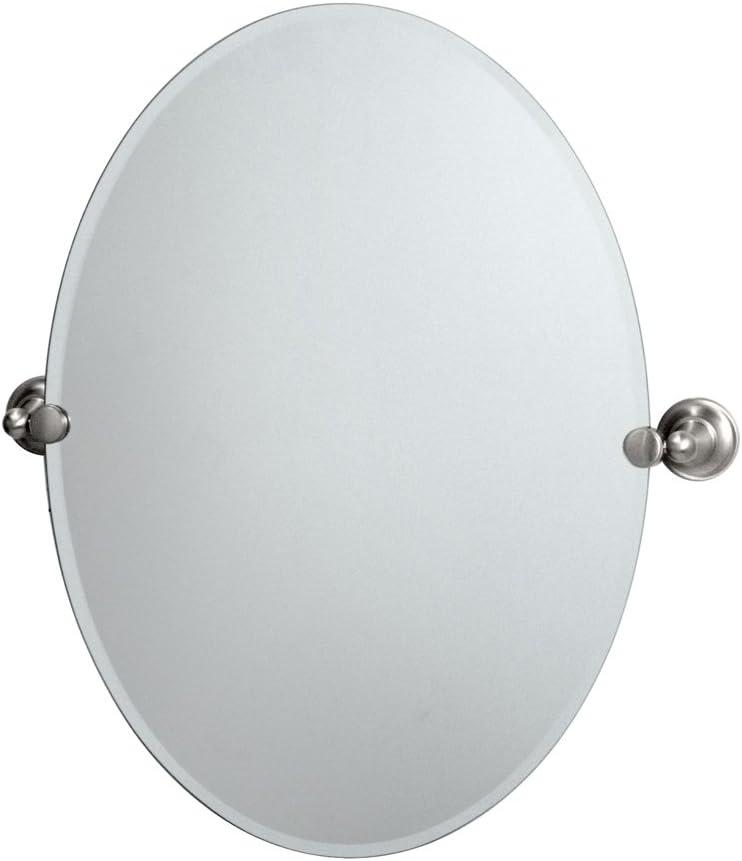 Satin Nickel Gatco 5859LG Marina Large Oval Wall Mirror