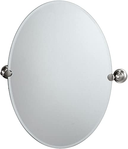 Gatco 4339 Tiara Oval Wall Mirror, Satin Nickel