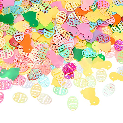 Eggs Confetti Easter (Chuangdi 3.52 Ounces Over 2000 Pieces Easter Egg Chicken Confetti Table Confetti for Easter Party Birthday Party Decoration)
