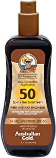 product image for Australian Gold Spray Gel Sunscreen with Instant Bronzer SPF 50, 8 Ounce | Moisturize & Hydrate Skin | Broad Spectrum | Water Resistant