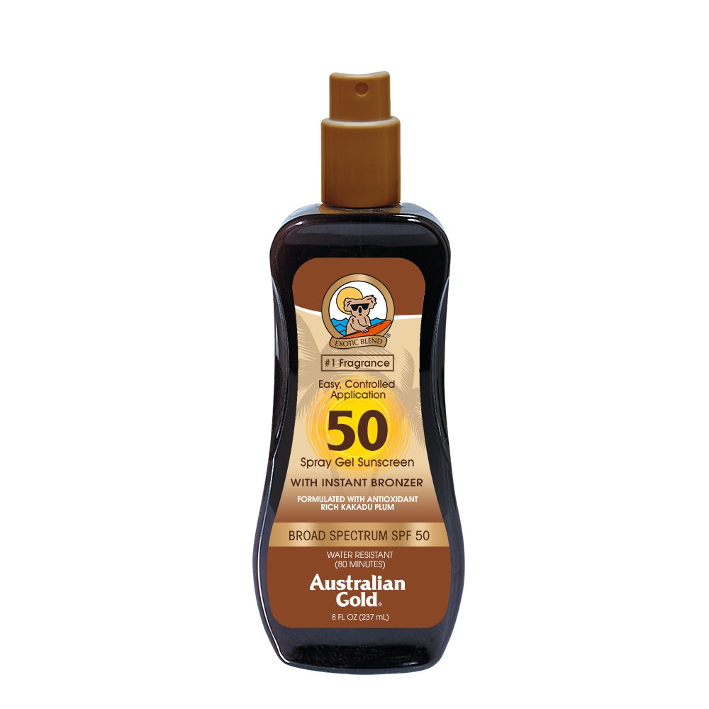 Australian Gold Spray Gel Sunscreen with Instant Bronzer, Moisturize & Hydrate Skin, Broad Spectrum, Water Resistant, SPF 50, 8 Ounce