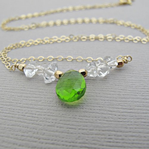 Rough Cut Diamond - 14kt Gold Fill, Peridot Necklace,Herkimer Diamond Necklace, Sterling Silver, Rough Diamond Necklace, Crystal Necklace, Quartz Necklace, Diamond Necklace, Peridot Pendant, 18