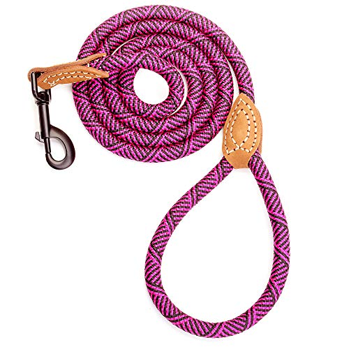 Mile High Life Leather Tailor Reinforce Handle Mountain Climbing Dog Rope Leash with Heavy Duty Metal Sturdy Clasp (Hot Pink, 5 FT)