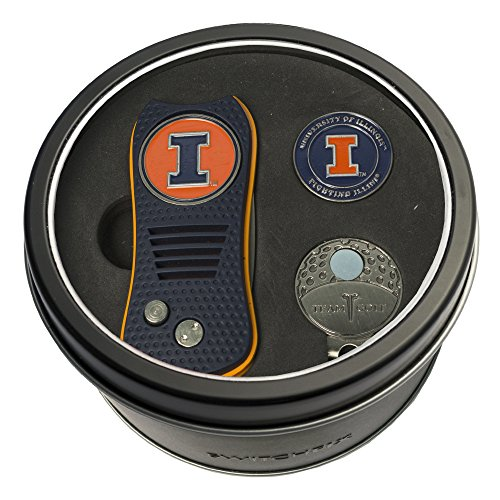 Team Golf NCAA Illinois Fighting Illini Gift Set Switchblade Divot Tool, Cap Clip, & 2 Double-Sided Enamel Ball Markers, Patented Design, Less Damage to Greens, Switchblade ()