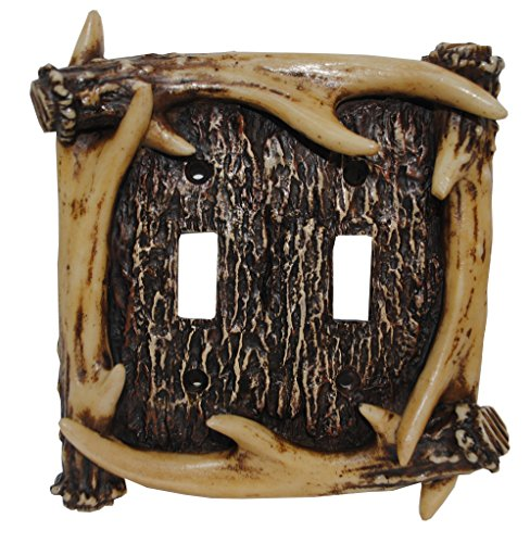 HiEnd Accents Rustic Antler Double Switch Plate - Faux Antler Outlet Cover
