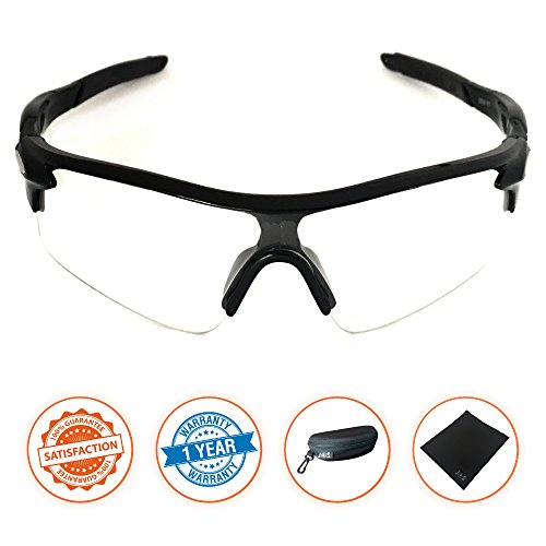 J+S Active PLUS Cycling Outdoor Sports Athlete's Sunglasses, 100% UV protection (Black Frame / Clear - Glasses Bike