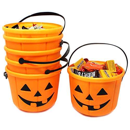 k or Treat Pumpkin Bucket Jack O Lantern Candy Basket Halloween Party Supplies Pumpkin Pails with Handle (6 Pack) ()