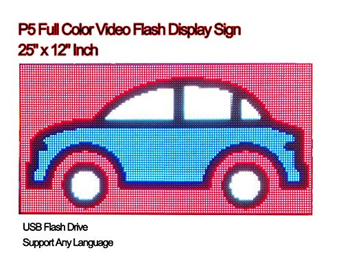 Video Full Color High Definition P5 LED Sign 25''x 12'' Programmable Scrolling Display Message Board by iSparkLED (Image #6)
