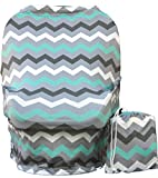 Wobble Baby Nursing Cover and Car seat canopy, for breastfeeding and baby protection, Hypoallergenic and with UV protection, (Grey Paradise Blue)