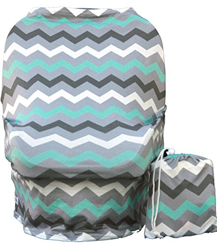 Wobble Baby Nursing Cover and Car seat canopy, for breastfeeding and baby protection, Hypoallergenic and with UV protection, (Grey Paradise Blue) by Wobble Baby