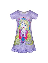 AmzKids Little Girls Princess Nightgowns Toddler Nightdress Rapunzel Kids Pajama Sleepwear Nightie