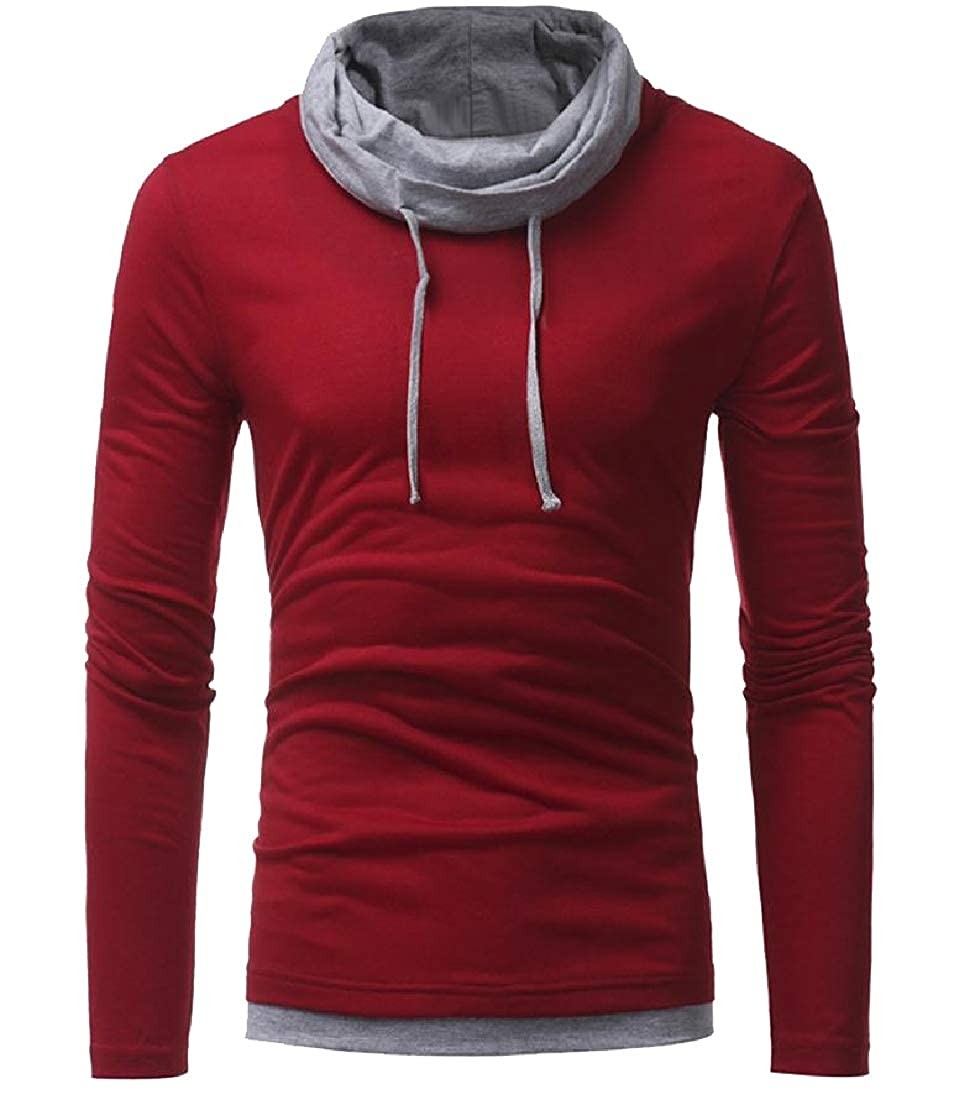 Losait Men Cowl Neck Color Block Original Fit T-Shirt with Strings