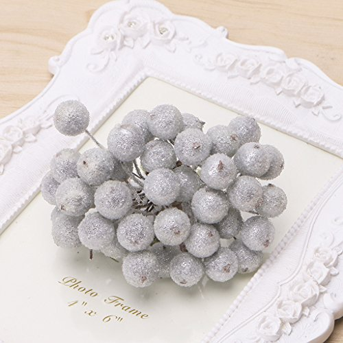 Frosted Holly (Kofun Xmas Artificial Flower 200 Pcs Mini Holly Christmas Decorative Frosted Fruit Berry Silver)