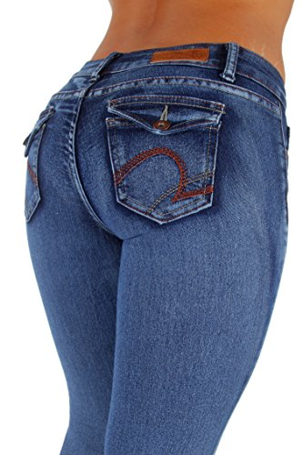 Fashion2Love Style WG0018– Classic Washed Skinny Jeans With envelop Back Pockets In Blue Size (Back Skinny Jeans)