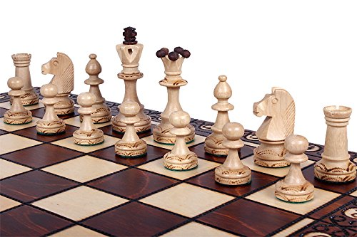 The Zaria Chess Set with Handcrafted, Elegant Wooden Chess Pieces, Chessboard That Folds for Chess Piece Storage