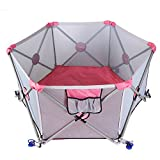 #2: Portable Playpen N' Play Portable Playard For Babies/Newborn/Infant/Toddler With Travel Bag,7-Panel [ Pink ]