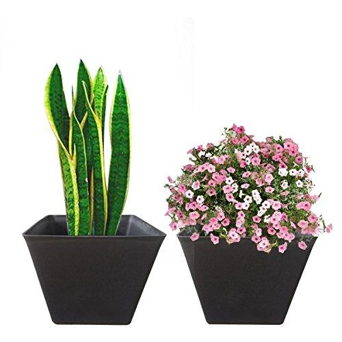 Large Planters Resin Flower Pots - 14.6 Set 2, Indoor Outdoor Garden Patio Planters, Black, Unbreakable