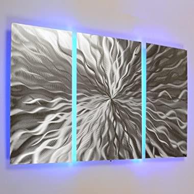 Cosmic Energy, LED  3 panel Color Changing LED Modern Abstract Metal Wall Art Sculpture Painting Decor RGB