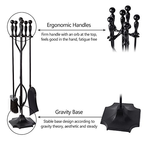 5 Pieces Fireplace Tools Tool Set Wrought Iron Fireset Firepit Fire Place Pit Poker Wood Stove Log Tongs Holder Tools Kit Sets with Handles Modern Black
