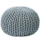 Cheer Collection 18'' Round Pouf Ottoman | Chunky Hand-Knit Decorative and Comfortable Foot Stool and Ottoman, Gray