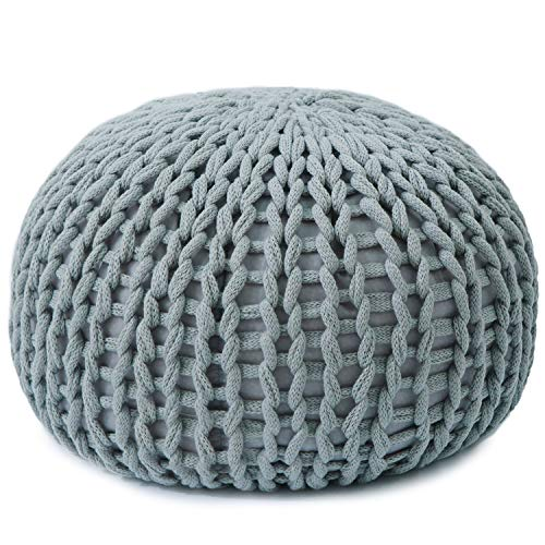 Cheer Collection 18'' Round Pouf Ottoman | Chunky Hand-Knit Decorative and Comfortable Foot Stool and Ottoman, Gray by Cheer Collection