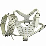 Prettier Care White New Design Studded Leather Dog Harness&Collar Set For Pitbull Bully Size : L