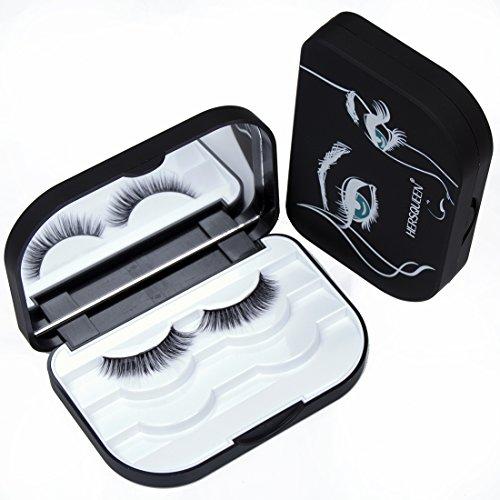 HERSQUEEN Eyelash Case Storage Box Lash Cases Fake Eyelash Holder Case False Eyelash Storage Container 3-Tier Organizer Custom Lash Packaging Lash Travel Box(Black)