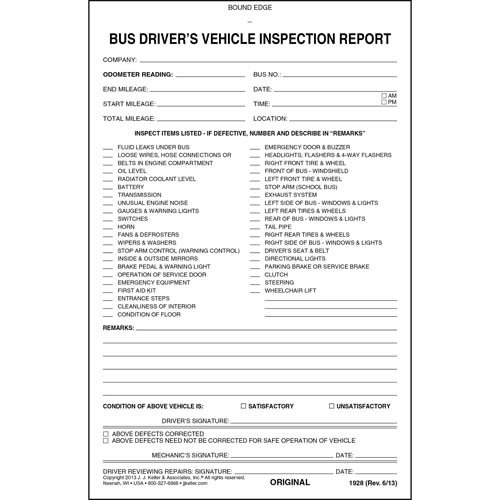 Bus Driver's Vehicle Inspection Report - Book Format - 2-Ply, Carbonless, Stock, 5-1/2