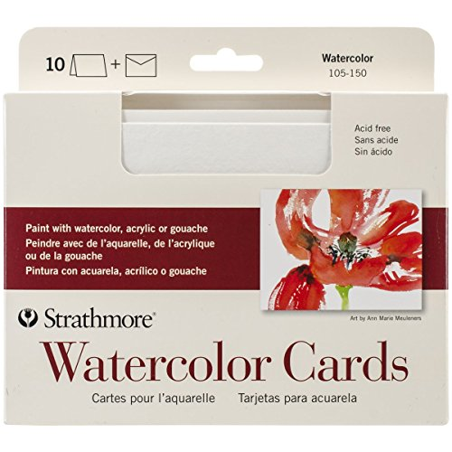 Strathmore 105-150 Watercolor Cards, Full Size Cold Press, 10 Cards & Envelopes ()