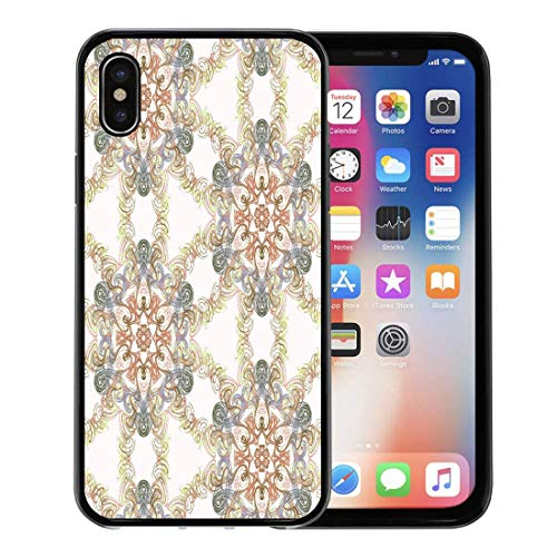 - Emvency Phone Case for Apple iPhone Xs Case/iPhone X Case,Geometrical Abstract Batek Batik Digital Drawing Elegance Graphic Infinity Soft Rubber Border Decorative, Black
