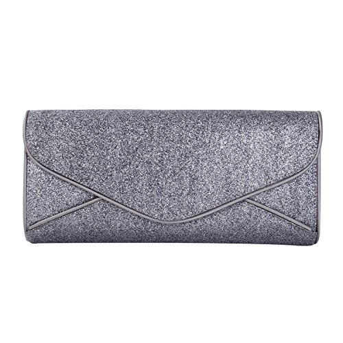 Premium Large Metallic Glitter Envelope Flap Clutch Evening Bag, Grey