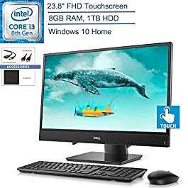 2020 Dell Inspiron 3480 23.8″ FHD Touchscreen All-in-One AIO Desktop Computer, 8th Gen Intel Core i3-8145U Beat i5-7200U, 8GB DDR4 RAM, 1TB HDD, Windows 10, YZAKKA Accessories