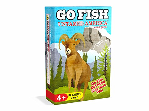 Arizona GameCo GO FISH Untamed America ~ Go Fish, Old Maid, Slap Jack and War ~ Play 4 Classic Kids Card Games with ONE Single Deck Featuring North American Forest Animals (Play Slap Card Game)