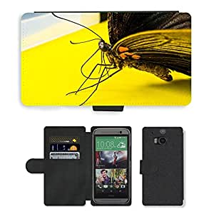 PU LEATHER case coque housse smartphone Flip bag Cover protection // M00134043 Insecto Mariposa // HTC One M8